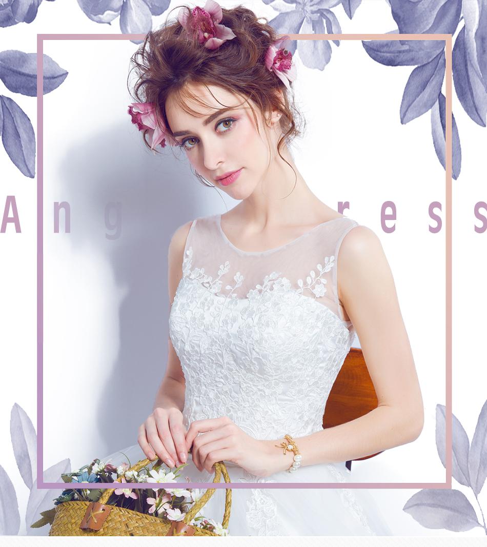 Angel Wedding Dress Marriage Bride Bridal Gown Vestido De Noiva 2017 Lace, flowers, perspective, backless 612 1