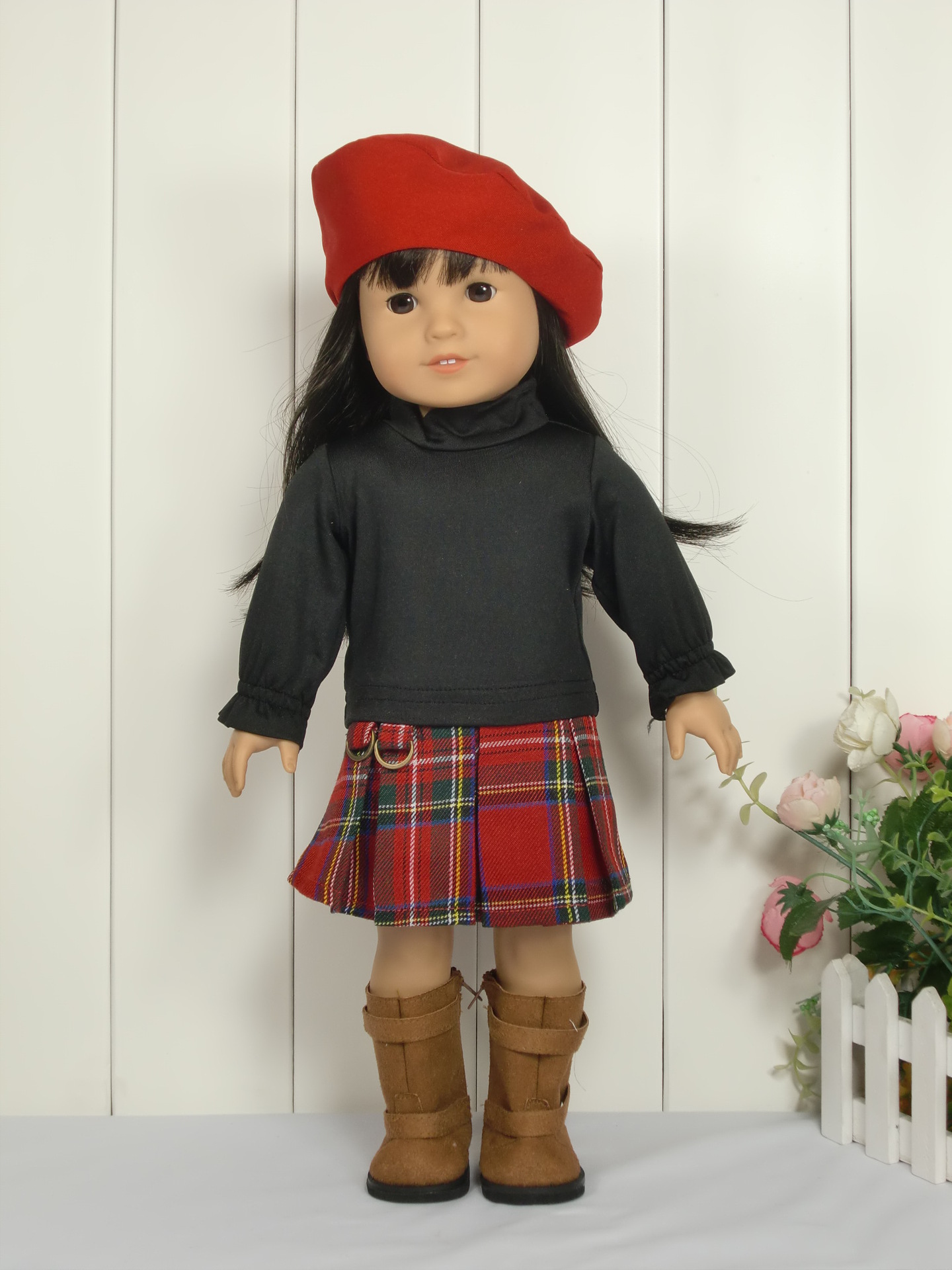 3pcs/set 1hat+1 shirt +1 Dress The Scotland Dress Suit For 18 Inch American Girl Doll 45cm Doll Accessories christmas costume dress for 18 45cm american girl doll santa dress with hat for alexander doll dress