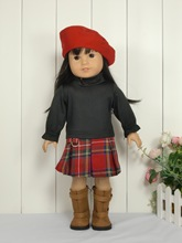 3pcs/set 1hat+1 shirt +1 Dress The Scotland Dress Suit For 18 Inch American Girl Doll 45cm Doll Accessories