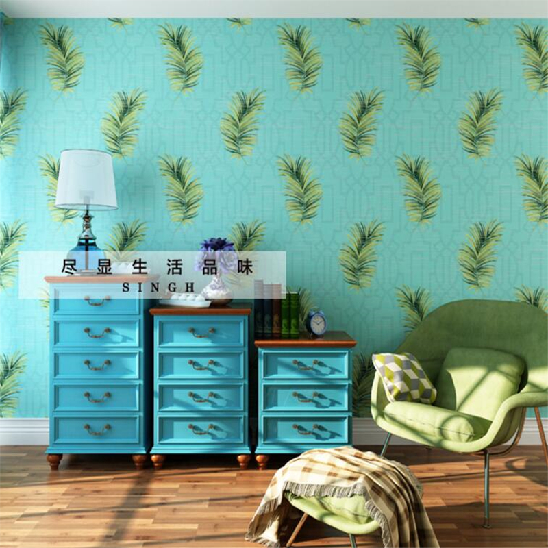 Beibehang Southeast Asian style 3d TV living room bedroom wallpaper paper green leaf 3d wallpaper papel de parede para quarto beibehang beautiful rose sea living room 3d flooring tiles papel de parede para quarto photo wall mural wallpaper roll walls 3d