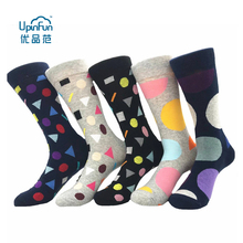 5 Pairs/Lot Fashion Europe America Large Size 39 - 46 Men's Cotton Happy Socks Colorful Bumping Geometric Dot Street Stockings