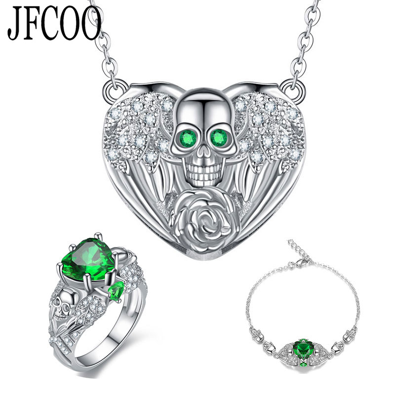 Ring-Sets Necklace Bracelet Crystal Heart-Shape Purple Green Punk Angel Skull Red PARTY