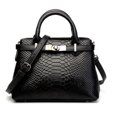 Ladies new fashion leather crocodile pattern laptop shoulder bag ba