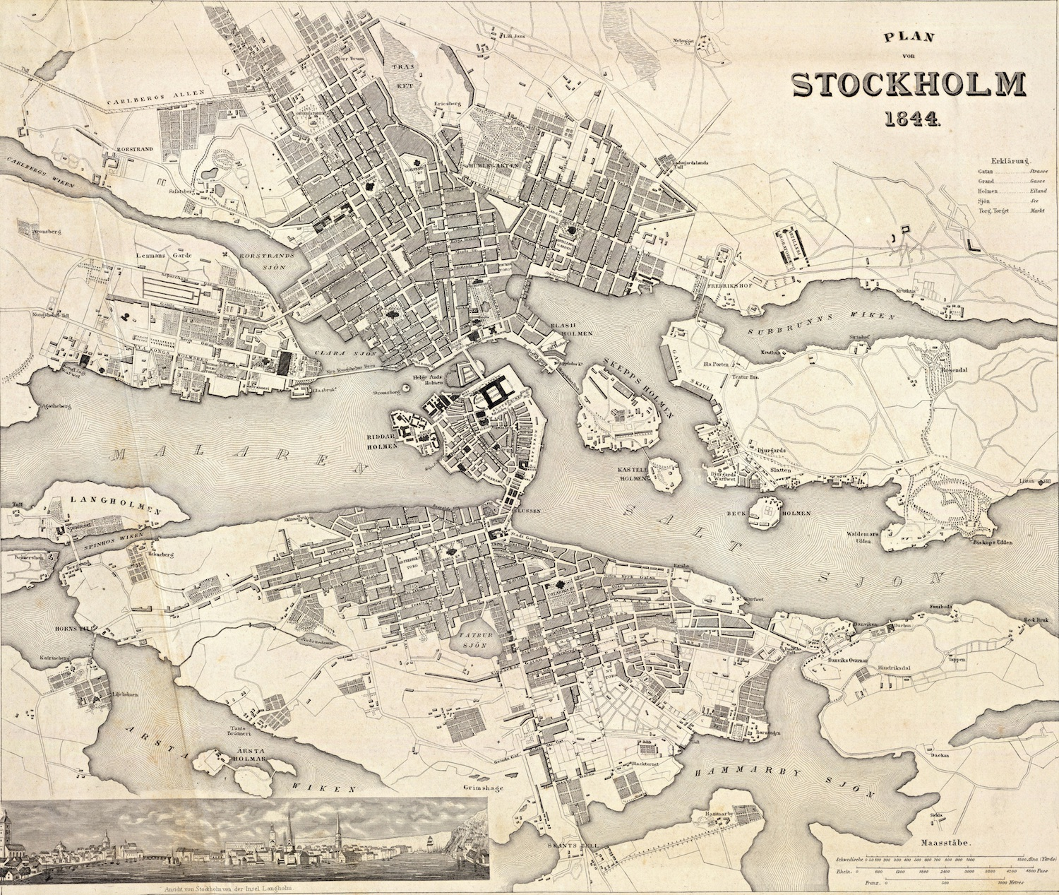 Vintage World Map Poster Stockholm (1844) City Map Classic Canvas ...