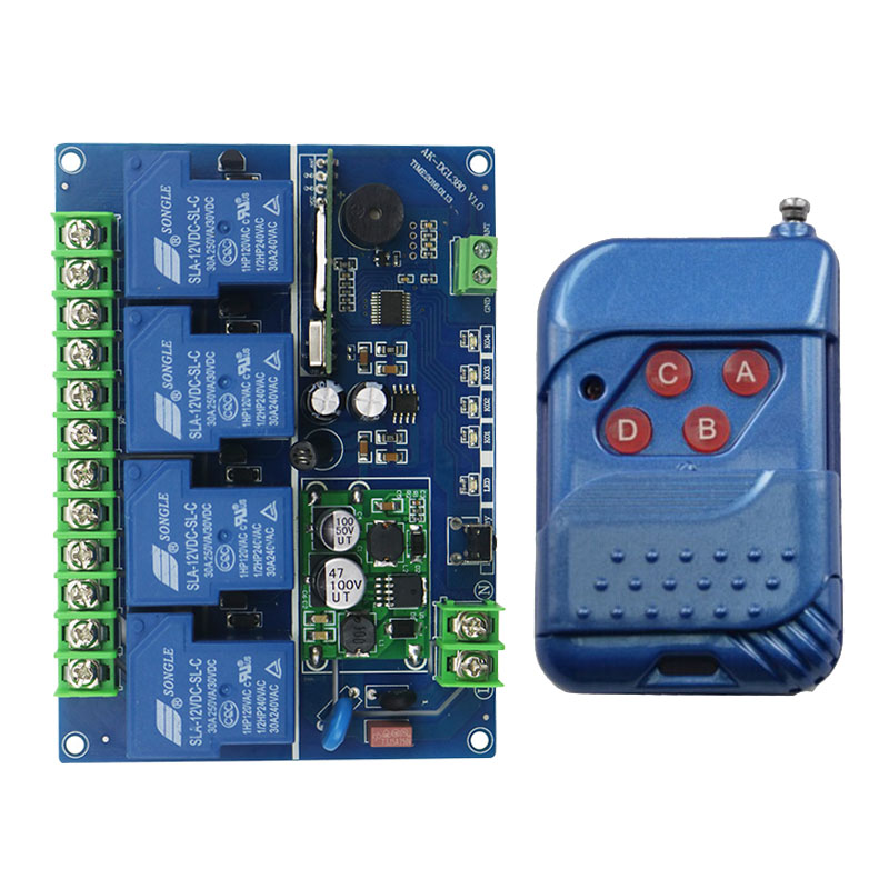 цена на Wide voltage 12V 24V 36V 48V 4CH 30A RF Wireless Remote Control Relay Switch Security System Garage Doors Electric Doors(04K)