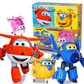 4pcs/set New Packing Big Super Wings Deformation Airplane Robot Action Figures Super Wings Transformation toy for children gift