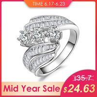 JewelryPalace Twisted Channel Set 3 Stone 5ct Cubic Zirconia Promise Wedding Engagement Ring 925 Sterling Silver Rings For Women