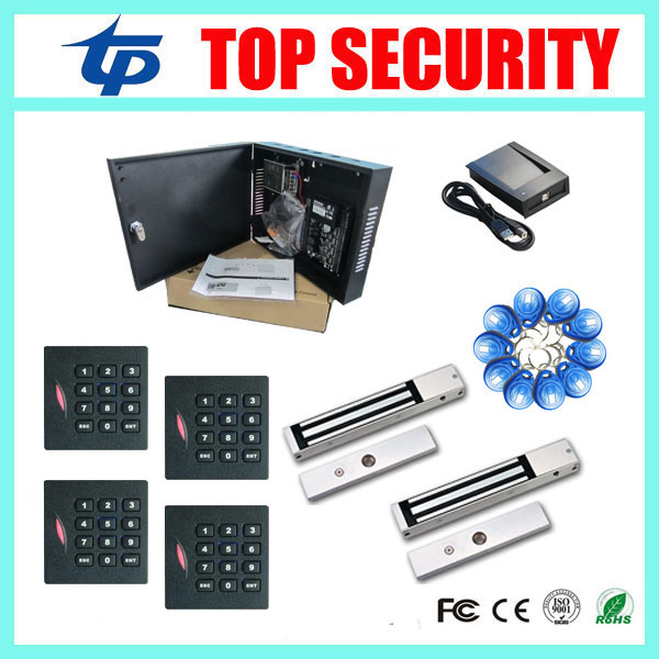C3-200 access control board 2 doors access control panel with 4pcs RFID card and 2pcs 280KG EM lock free shipping zkaccess