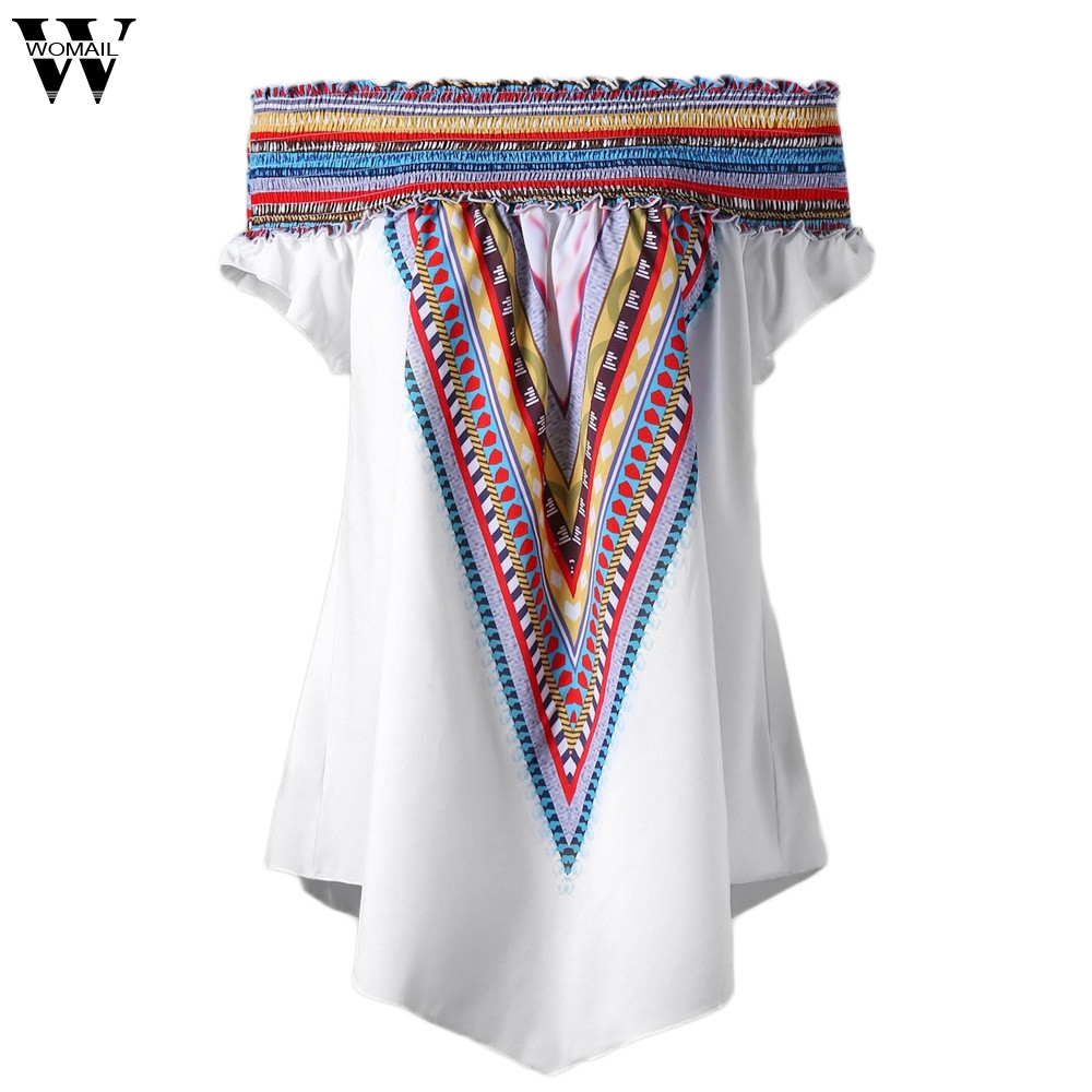 WOMAIL 2018 Fashion Womens Colorful Elastic Print Off Shoulder Plus Size Tunic Tops T Shirt Female Sleeveless May21 W20d30
