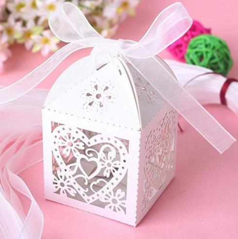 50pcs Love Heart Laser Cut Candy Gift Boxes with ribbon