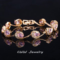 7 Color Options Gold Plated Black Purple Red Pink Blue CZ Imitation Diamond Women Bracelets With Zircon Stones CB160