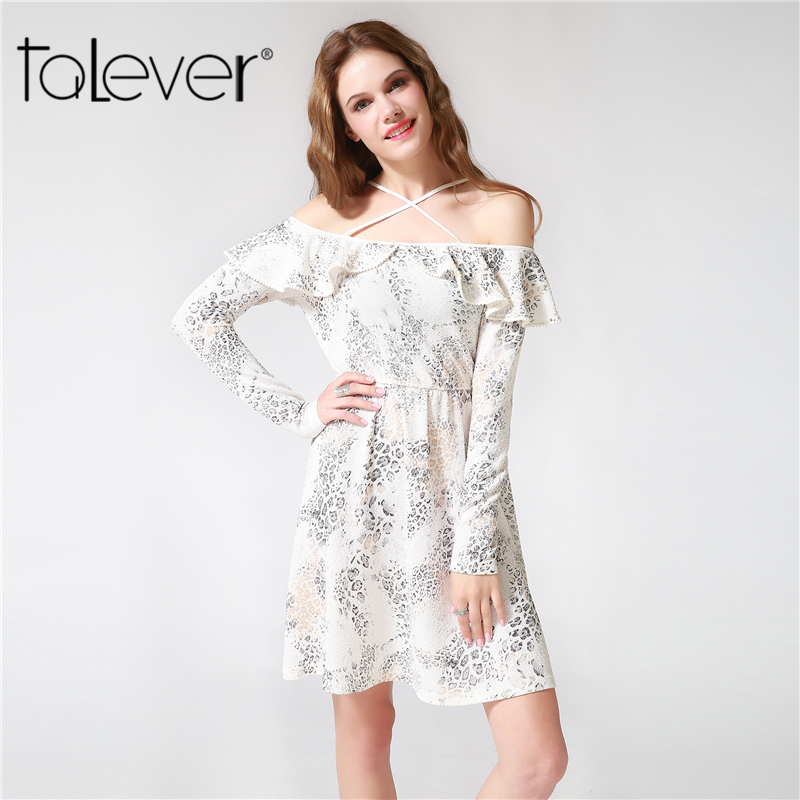 Women Autumn Leopard Print Mini Dress Black White Knitted Off Shoulder Sexy Short School Party Evening Female Dress 4XL Talever