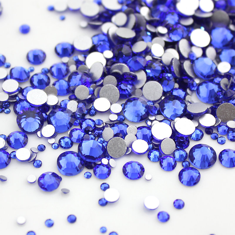 Nail Rhinestone SS3-SS16 Sapphire Glass Flatback Non Hot Fix Stone Glue On For Nails Decorations Nail art creation 31 colors nail art rhinestone many colors 400 pcs mixed sizes diy stone flatback hot fix rhinestones for nail decorations