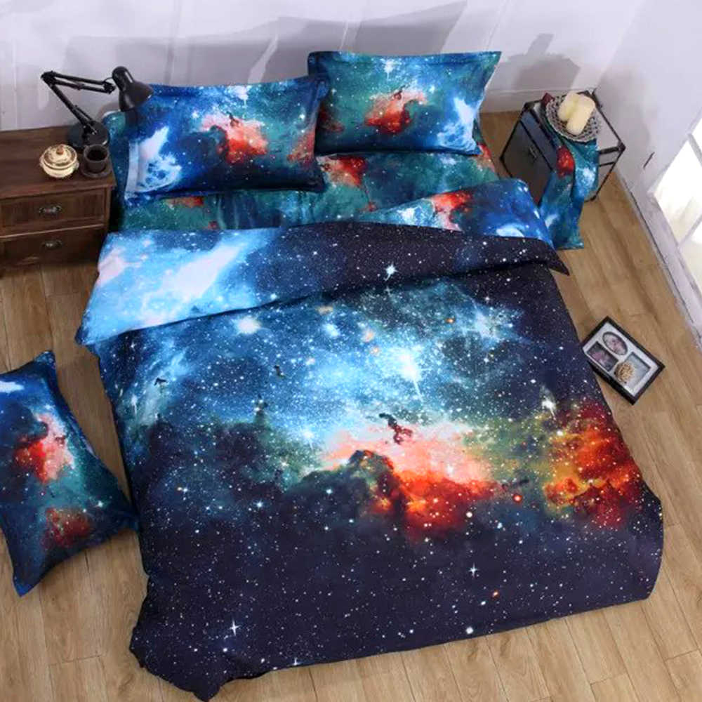 3D Bedding Sets Universe Space Galaxy bed set Quilt Pillow Duvet Cover bed linens Single/Double/Queen Size cotton satin Quilted1