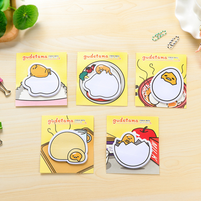 3 Pcs Creative Cute Kawaii Lazy Egg Self-Adhesive Memo Pad Sticky Notes Post Bookmark Cartoon School Stationery Office Supplies
