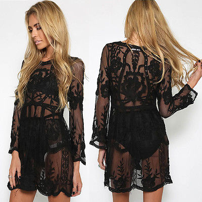 2017 Lovely Women Bathing Suit Lace Crochet Bikini Swimwear Cover Up Beach Dress