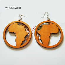 Black Brown Natural Wood Hollow Out Africa Map Tribal Tropical Fashion Girl Earrings Vintage Wooden African Hiphop Jewelry