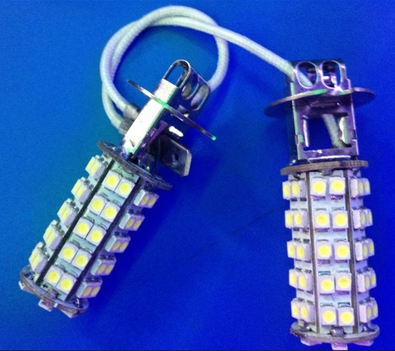 10x H3 68SMD 1210 3528  LED Car Fog Daytime Running Turn Singal Parking Stop lights White/Yellow/Red/Blue new arrival a pair 10w pure white 5630 3 smd led eagle eye lamp car back up daytime running fog light bulb 120lumen 18mm dc12v