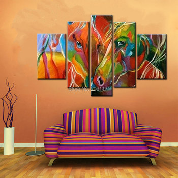 Hand Painted Modern horse Oil Painting On Canvas coloring fashion Abstract animal Wall Art for living room 5 PIECE ART SETS