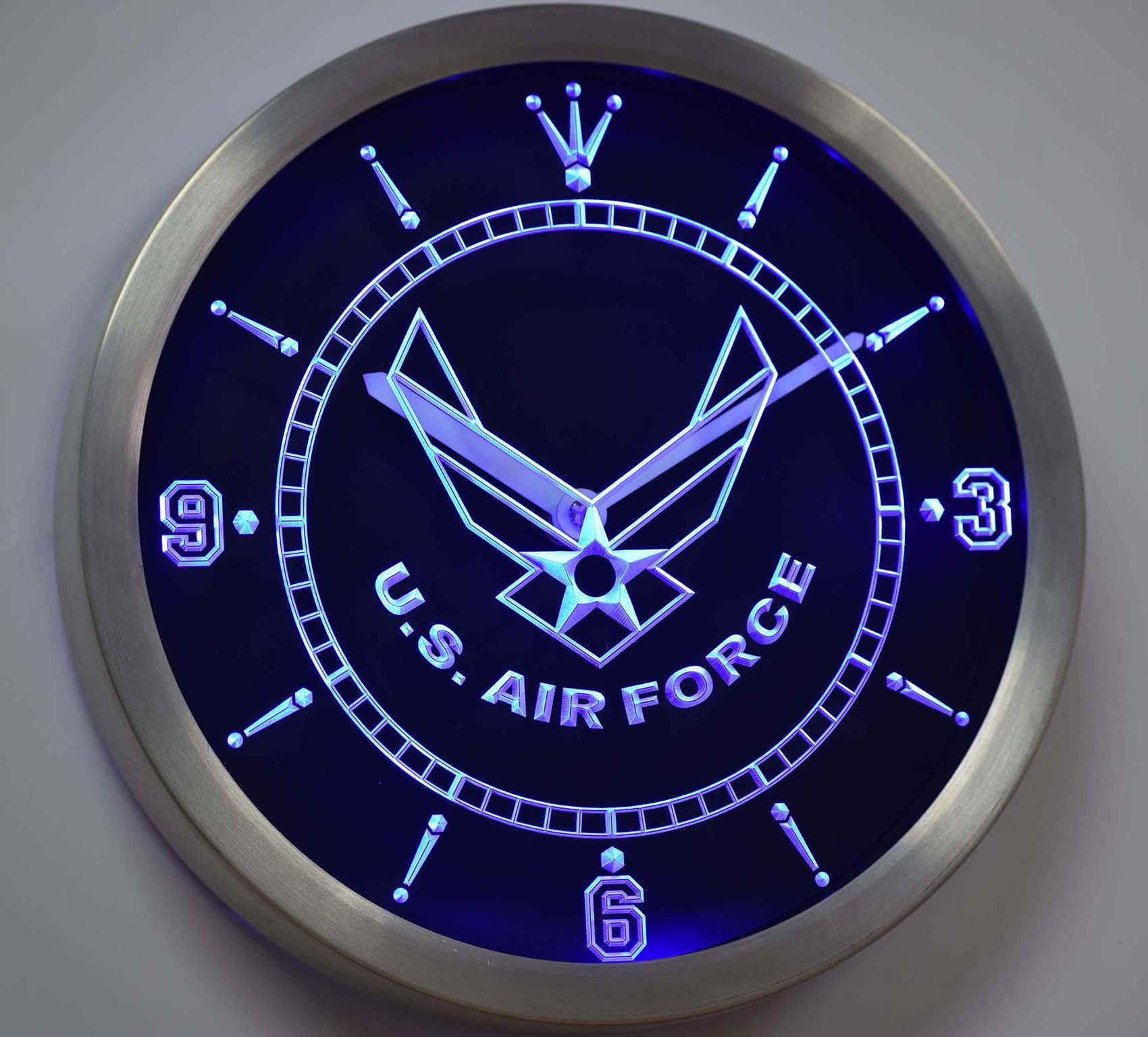 nc tm175 US Air Force Neon Sign LED Wall Clock