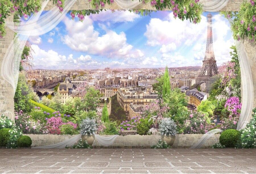 Laeacco Torre Eiffel Paris Vista Plataforma Cenário Fotográfico Backdrops Para Estúdio de Fotografia Fotografia Fundos Personalizados Do Bebê