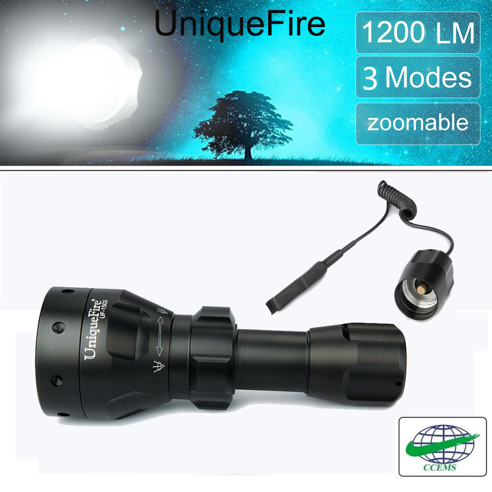 ФОТО UniqueFire CreeT6 LED Flashlight 1503-XML Ultra Bright  Water Resistant Of 5 Modes Tactical Lampe Torche For Outdoor+Rat Tail