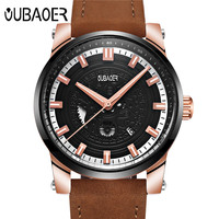 OUBAOER Mens Watches Top Brand Luxury Quartz Watches Luxury Brand Fashion Clock Casual Wristwatches Leather Watch