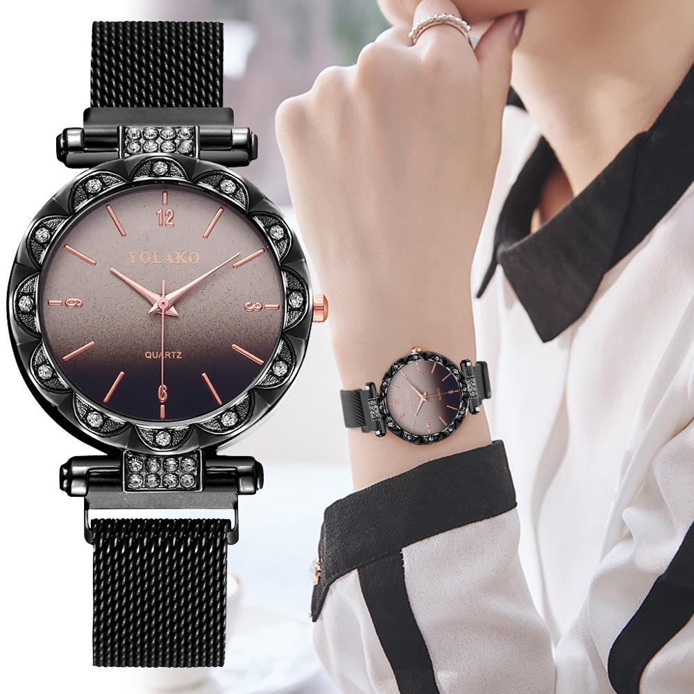 Fashion Rhinestone Women Watches Ladies Dress Crystal Stainless Steel Mesh Quartz Wristwatches Bracelet Clock Montre Femme 2019