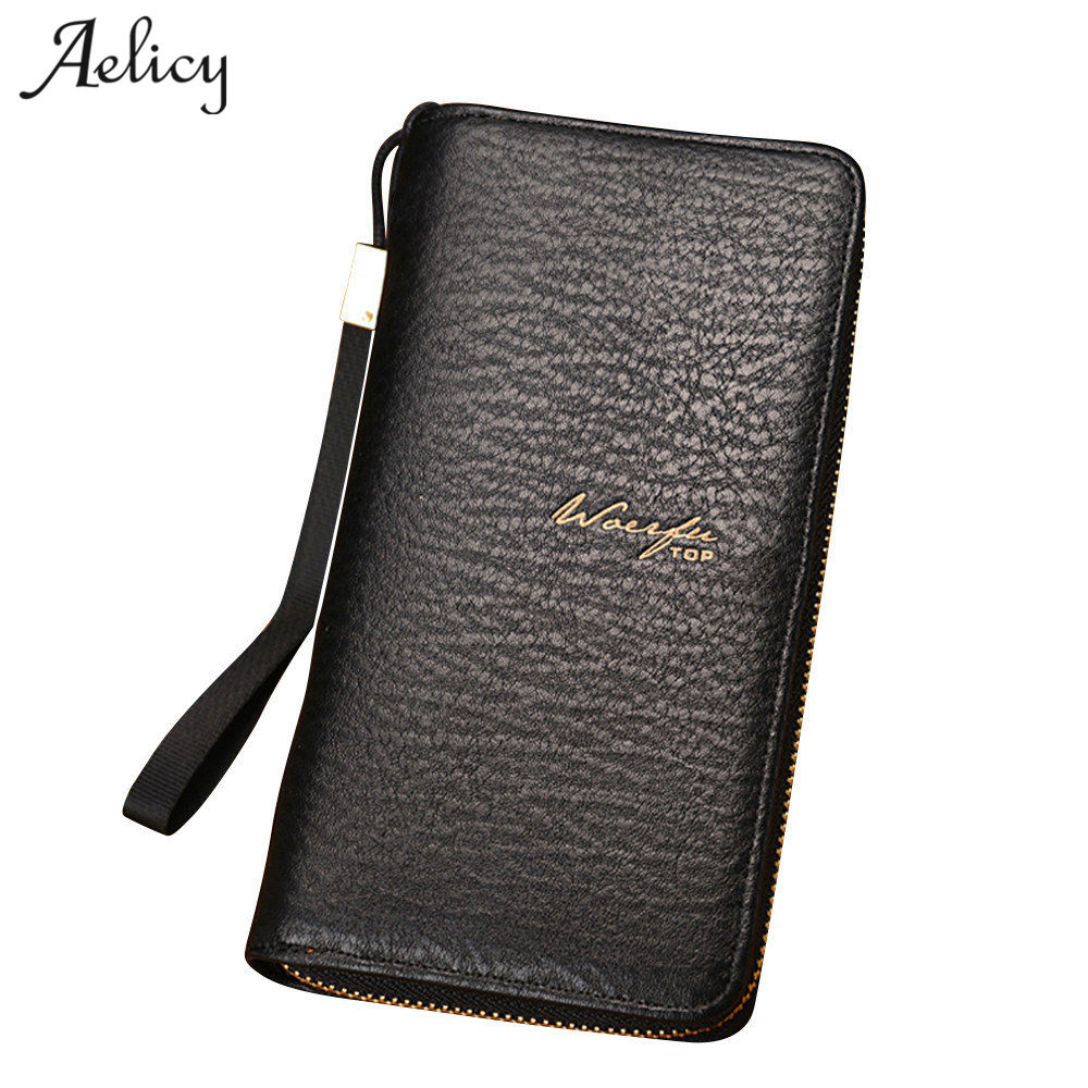Aelicy New Large Capacity Men Wallets Long Style Long Section Multi-Card Zipper Phone Bit Credit Card Holder Purse Wallet