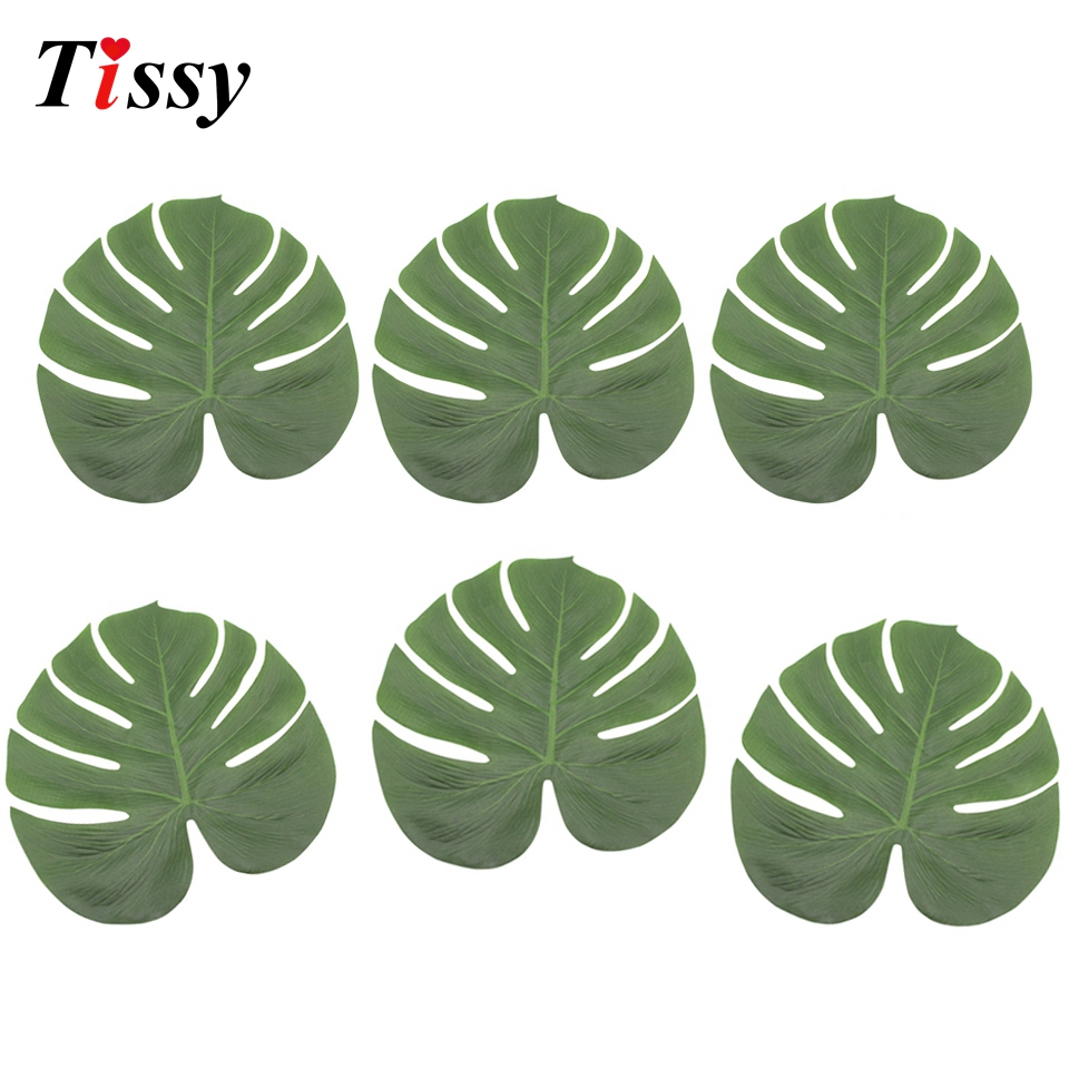 12PCS Artificial Leaves Tropical Palm Leaves For DIY Summer Theme Party Table Runner Decor Home Garden Wedding Party Decoration