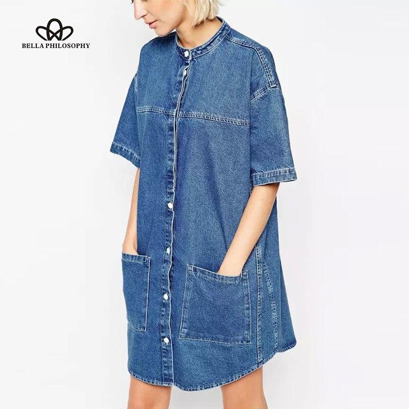 Primavera Verano nueva moda europea y americana cuello alto manga corta  bolsillos denim azul vestido de mujer 0bacc5cabfdd