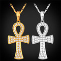 New Ankh Egyptian Cross Necklace & Pendant Women Trendy Yellow Gold Plated Crystal Key of the Nile Cross Amulet Jewelry P2354