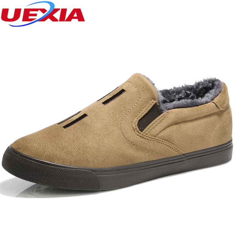 UEXIA High Quality Men Shoes Casual Flats Homber Sapato Super Warm Fur Winter With Fur Snow Shoes Suede Outdoor zapatos hombre top brand high quality genuine leather casual men shoes cow suede comfortable loafers soft breathable shoes men flats warm