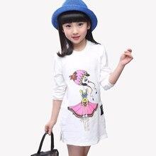 Girls Long O-neck T-shirt Cartoon Cotton Baby Kids Printed Long Sleeve White Tops Children Clothes Girls Clothing Tees