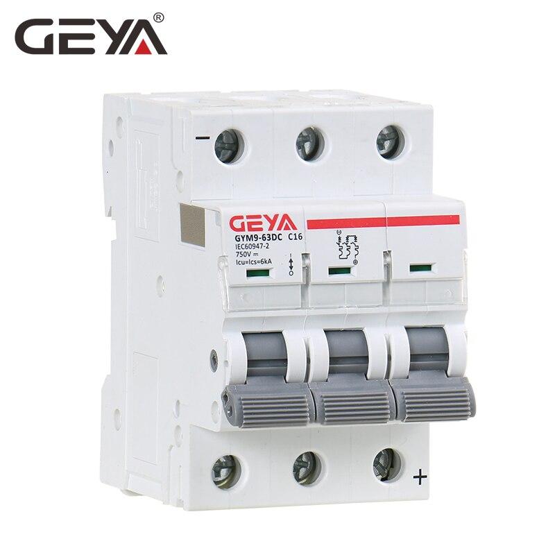 GEYA MCB DC 6KA 3P 750V Mini Circuit Breaker DC 6A 10A 16A 20A 25A 32A 40A 50A 63AGEYA MCB DC 6KA 3P 750V Mini Circuit Breaker DC 6A 10A 16A 20A 25A 32A 40A 50A 63A