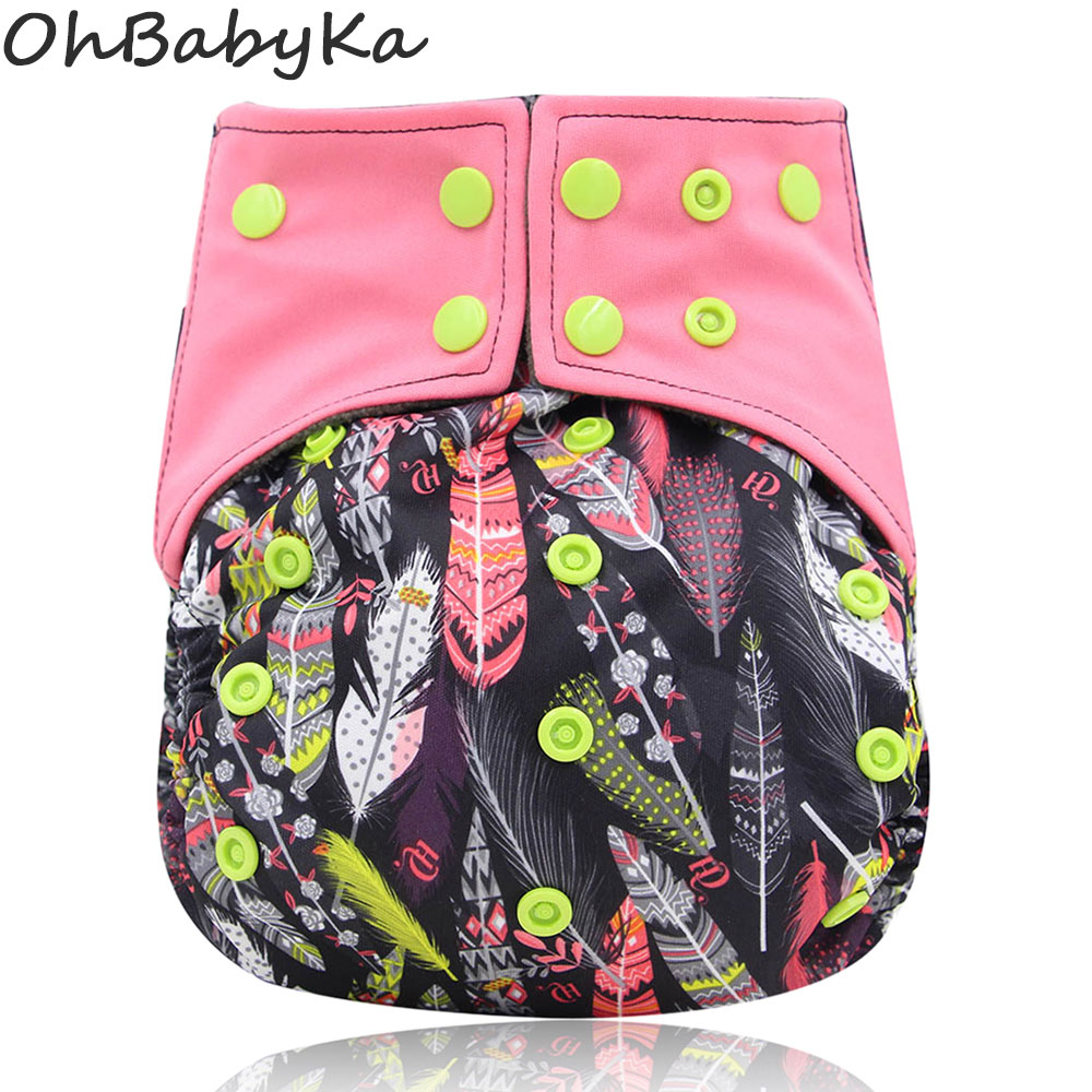 Ohbabyka All-in-one AIO Cloth Diaper Baby Nappies With Insert Double Gussets Baby Diaper Reusable Newborn Cloth Diapers One Size