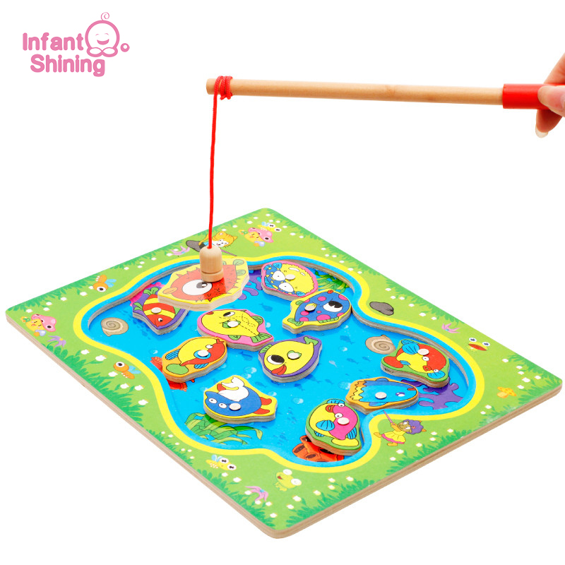 Infant Shining Fishing Toy Wooden Magnet Toys Fish Toys For Kids Baby Puzzle Education Gift 2-4 Years
