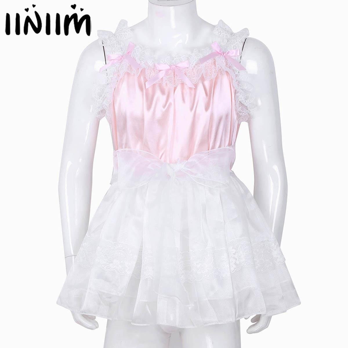 579e2d235e477 Mens Sissy Lingerie Sissy Dress For Men Shiny Soft Satin High Low ...