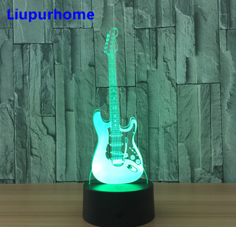 3D Light electric guitar Night Light LED Lamp Illusion Table Lamp 7 Color Changing LED Bedroom Luminaria Touch Lights 3D19