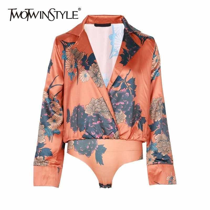 Twotone стиль цветочный принт Комбинезоны для женщин с v-образным вырезом и длинным рукавом короткий комбинезон женский пляжный стиль 2019 модная одежда