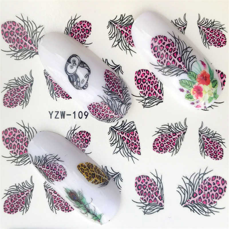 FWC 1 Sheet Optional Different Colors Feather Fashionable Nail Art Decor Water Transfers Nail Sticker for Ladies Decals