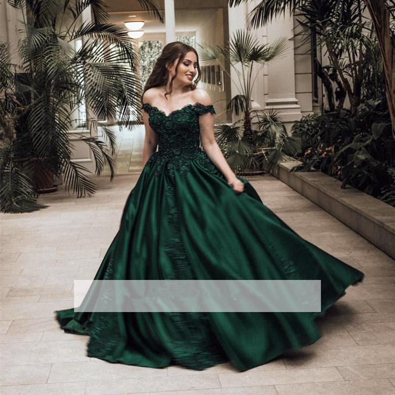 Green Puffy 2019 Cheap Quinceanera Dresses Ball Gown Off The Shoulder Appliques Lace Beaded Sweet 16 Dresses