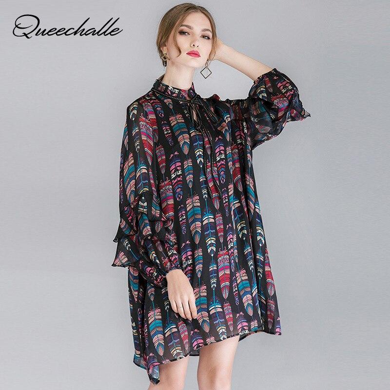2019 Spring Plus Size Fashion Print Dress Vintage Lace Up Stand Collar Loose Dress Women Ruffles