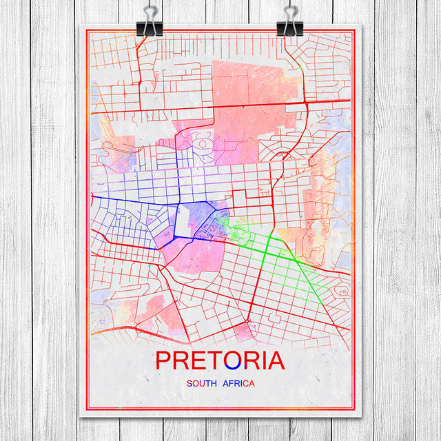 Colorful World City Map PRETORIA south Africa Print Poster Abstract ...