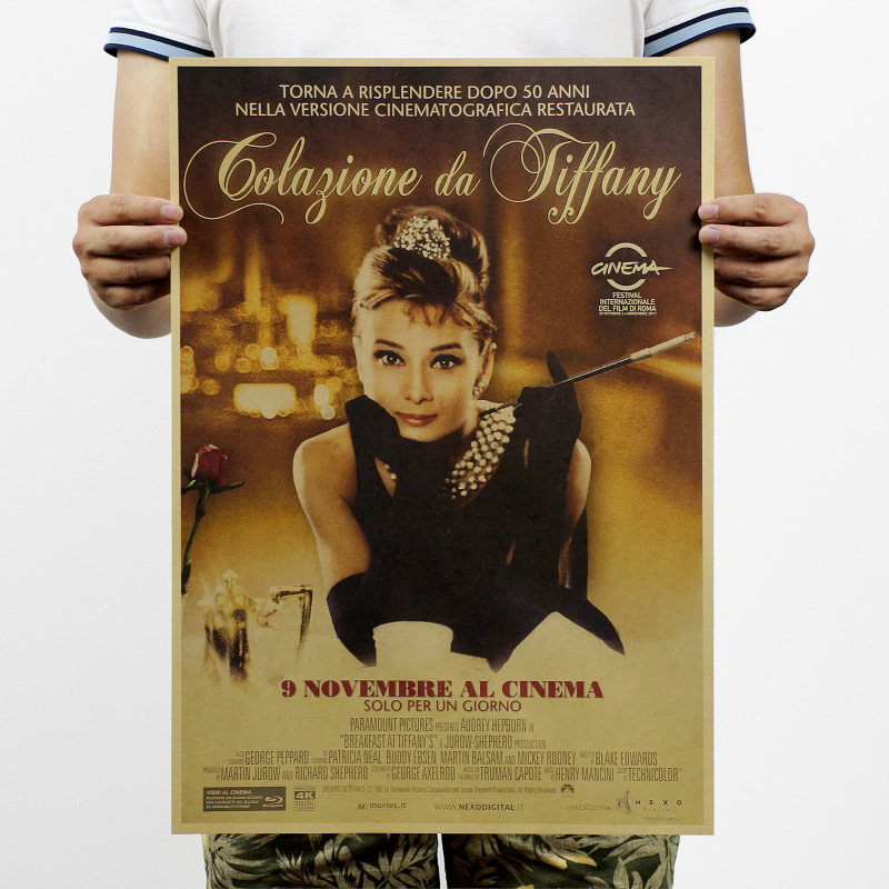 Breakfast At Tiffany's Audrey Hepburn Vintage Kraft Paper Movie Poster Home Decor Wall Decal School Office Classic Retro Posters