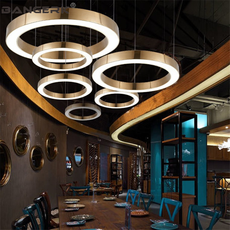 Simple Gold Modern LED Pendant Lamp Stainless steel Ring Acrylic Droplight Dining Room Hanging Lights Pendant Lighting Fixture