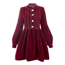 Возможно, у, черное, винно-красное бархатное платье с заклепками, пуговицами, стоячим воротником, пышным рукавом, с длинным рукавом, Короткое мини-платье, элегантное, зима-осень, D0890