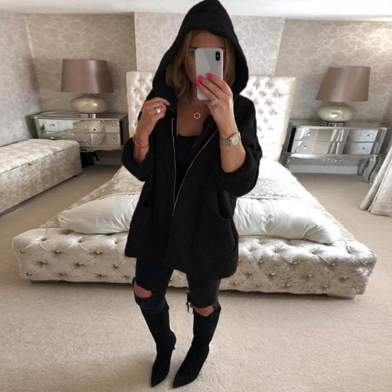 Elegant Women Hooded   Jacket   Hoodie Harajuku Coat Side Zipper Ladies Casual   Basic     Jackets   2018 New Autumn Winter Pocket