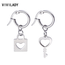 VIVILADY Trendy Heart Tiny Round Hoop Earrings Women Boho Unisex Stainless Steel Key Brincos Party Jewelry Bijoux Accessory Gift(China)