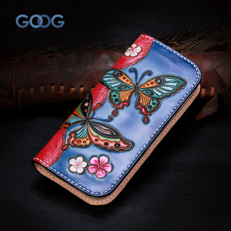 The new handmade leather wallet wallet zipper long money chuck layer of leather ladies personality of China weathering butterfly weathering